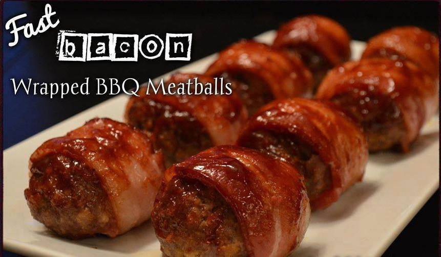 Bacon Wrapped Barbecue Meatballs